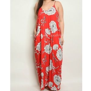 Love In Red White Floral Harem Maxi Dress Plus